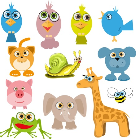illustration of a set of various cartoon animals Vector