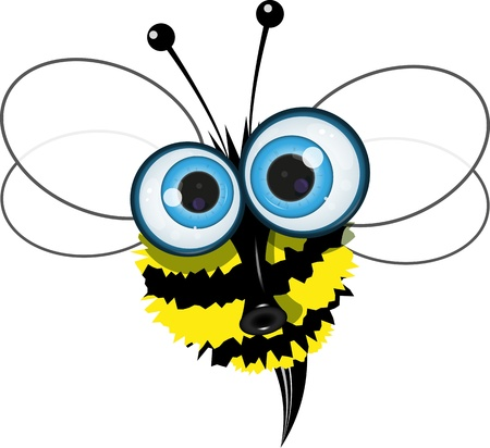 cartoon illustration of an angry bee with big eyes