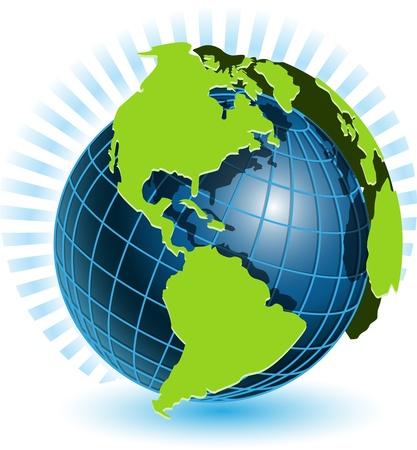 reciclable: Ilustración, globo transparente azul sobre fondo blanco Vectores