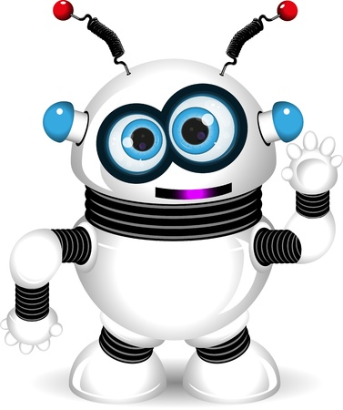 claws: illustration of a cheerful robot with antennas Illustration