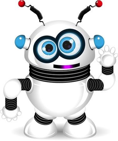 garra: ilustraci�n de un robot alegre con antenas Vectores