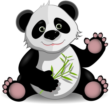 oso panda: ilustraci�n divertida de panda en el tallo del bamb�