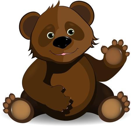 oso: ilustraci�n feliz oso de peluche marr�n sobre un fondo blanco Vectores