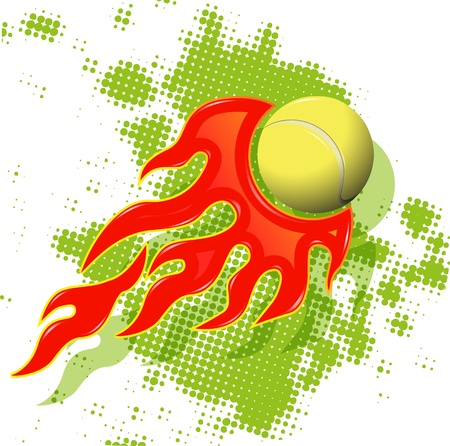 illustration tennis ball on fire on abstract green background Vector