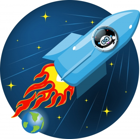 robot caricatura: ilustraci�n de dibujos animados de un robot en un cohete