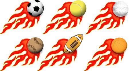 pelota rugby: ilustración de bolas de diversos deportes en el fuego