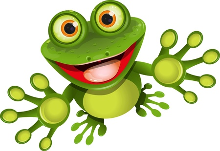 illustration, merry green frog with greater eye