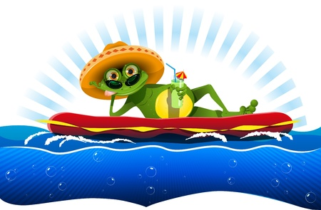 illustration green frog on a water mattress