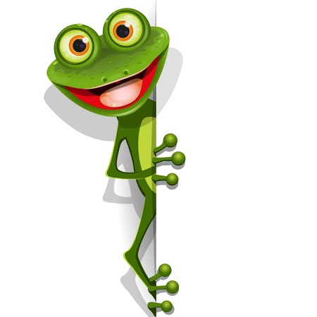 illustration jolly green frog with greater eye Vector