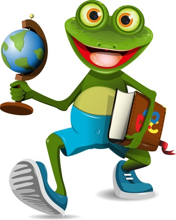 illustration of a frog student with a globe and a book