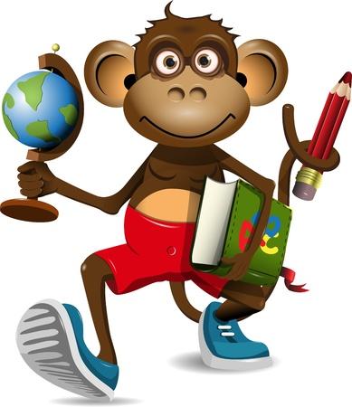 ilustración de un estudiante de mono con un globo y un libro