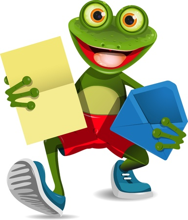 gecko: illustration of a green frog with a letter