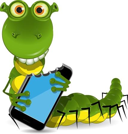 celula animal: ilustraci�n de un gusano verde se come al tel�fono