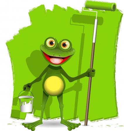 smiling frog: rana verde con un rodillo para pintar