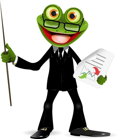explain: Frog in a black suit with a pointer