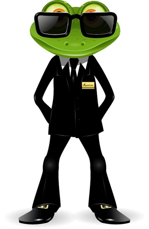 bodyguard: frog security guard in a black suit
