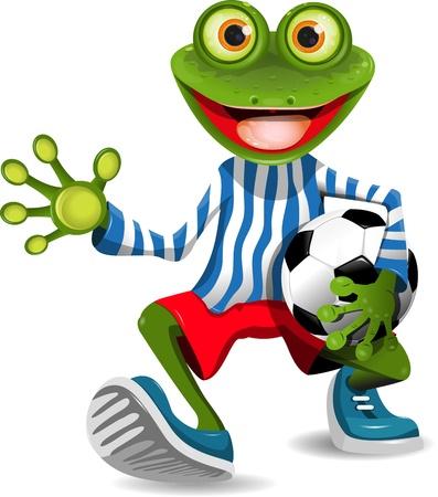 grenouille: drôle de grenouille en pleine forme avec le ballon