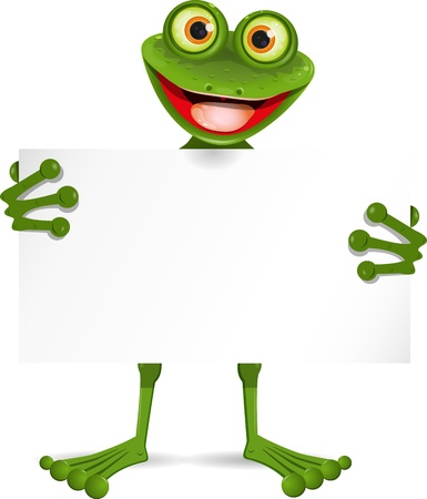illustration of a cheerful frog with a white plate