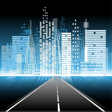 illustration the road to the city nightlife Vector