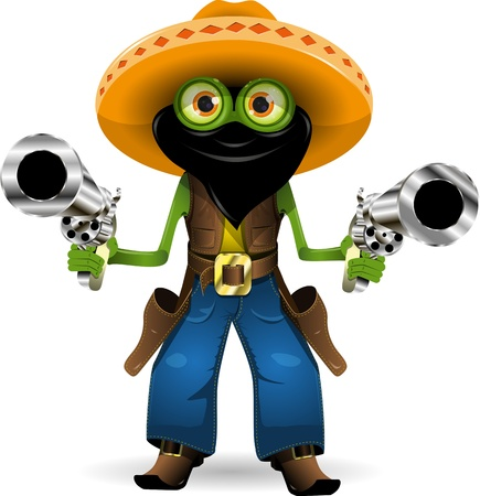 amphibious: Illustration criminal frog in hat with two guns