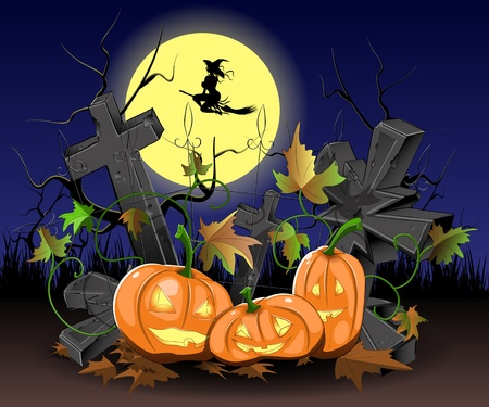 vlad: illustration of three pumpkins on the cemetery at Halloween Illustration