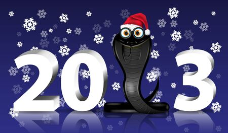 chinese new year snake: Christmas illustration black snake with a red cap