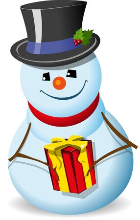illustration, new year's snowman in hat on white background Stock Vector - 15395665