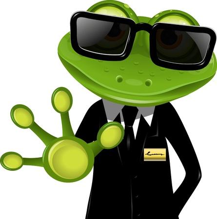 frosch: frog Wachmann in einem schwarzen Anzug Illustration