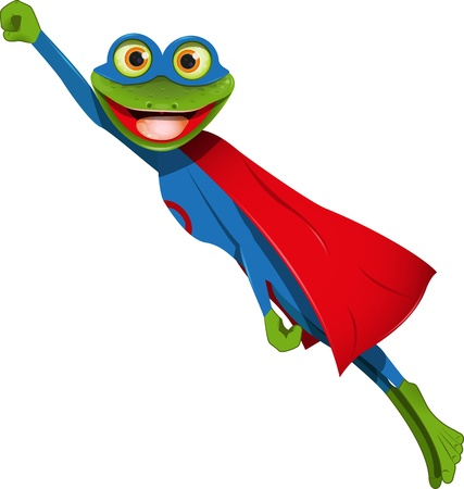 alive: frog superhero in a mask and a blue cape