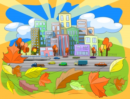 illustration city street in autumn leaf fall Stock Vector - 15449429