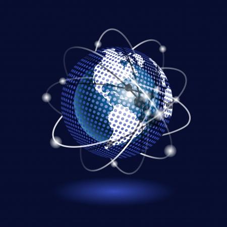 illustration blue globe on a blue background Stock Vector - 15612265