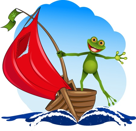 triton: funny frog on a red sail boat Illustration
