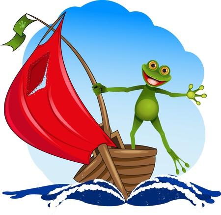 barca a vela: rana divertente su una barca a vela rossa Vettoriali