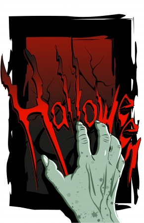 Halloween flyer with a scary zombie hand Vector