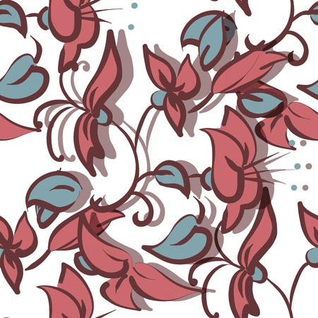 Seamless texture illustration with flowers and leaves Stock Vector - 15806181