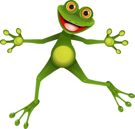 illustration merry green frog with greater eye Illustration