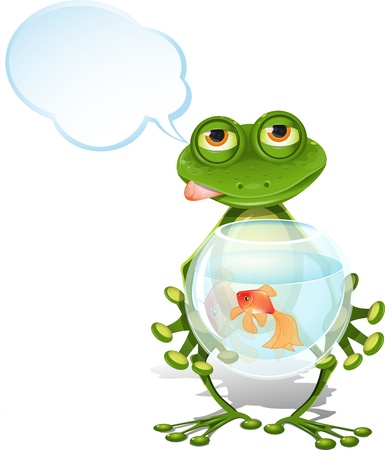 illustration merry green frog and a goldfish Vector