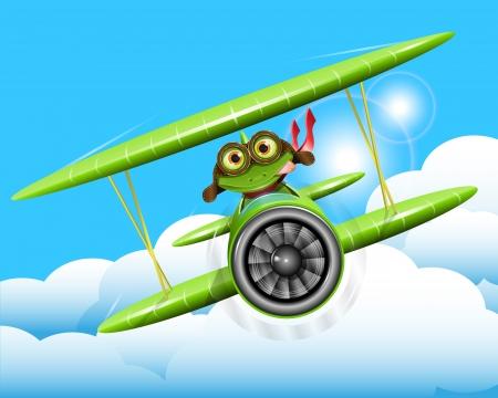 illustration merry green frog pilot in the plane Stock Vector - 15835032