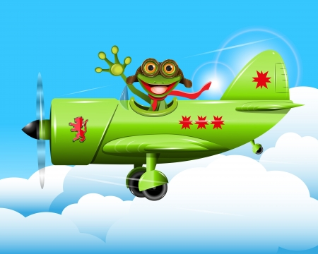 illustration merry green frog pilot in the plane Vector