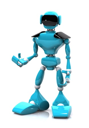 mano robotica: Ilustración 3D de un robot azul sobre fondo blanco