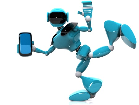 3d illustration of a blue robot and phone on white background Stock Illustration - 16108498