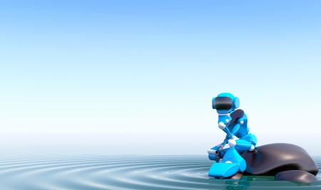 3d illustration robot on a stone in the water Stock Illustration - 16108507