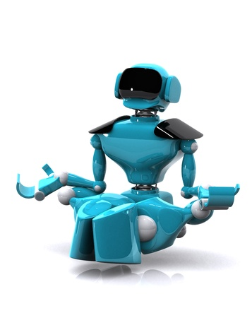 3d illustration of a robot meditating on white background Stock Illustration - 16108510