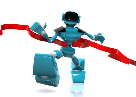 3d illustration of a running robot on white background Stock Illustration - 16232218