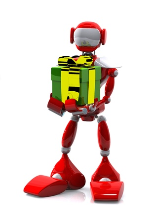 3d illustration robot with a gift on white background Stock Illustration - 16232225