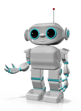 3d illustration of a cheerful robot with antennas Stock Illustration - 16232226