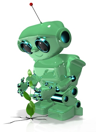 3d illustration of a green robot with antennas Stock Illustration - 16232227