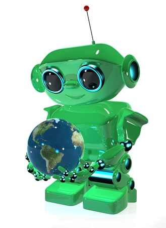 3d illustration green robot with antenna and globe Stock Illustration - 16232228