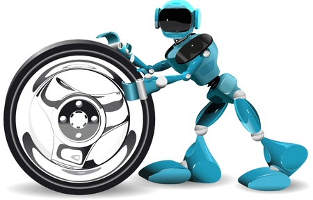 illustration of a blue robot and wheel on white background Stock Vector - 16232229