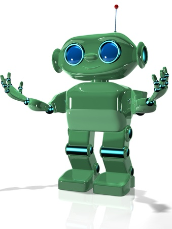 3d illustration of a green robot with antennas Stock Illustration - 16232230
